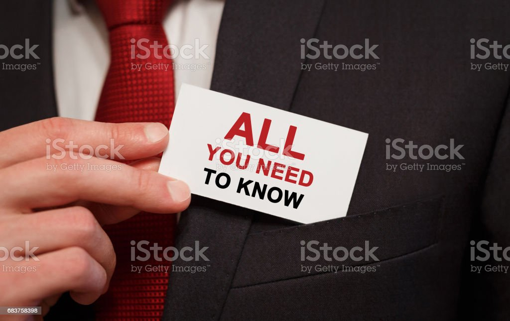 Businessman putting a card with text All you need to know in the pocket stock photo