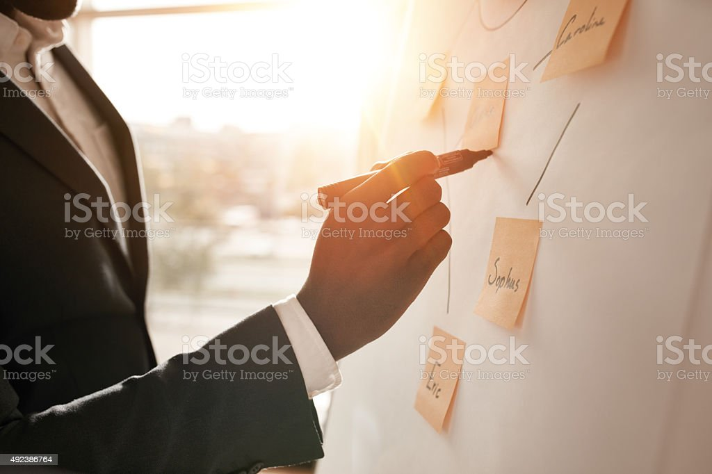 Businessman putting his ideas in white board stock photo