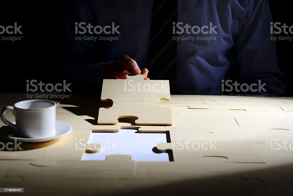 Businessman Puzzle Solution royalty-free stock photo