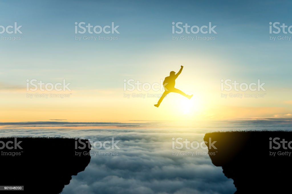 Businessman raise arms up in victory moment. Concept of victory, success or winning in business. stock photo