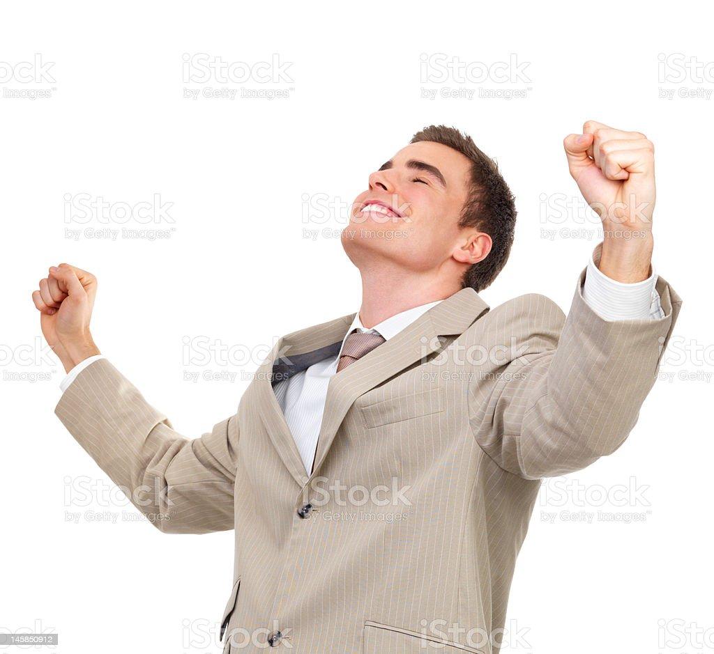 Businessman raising his hands royalty-free stock photo