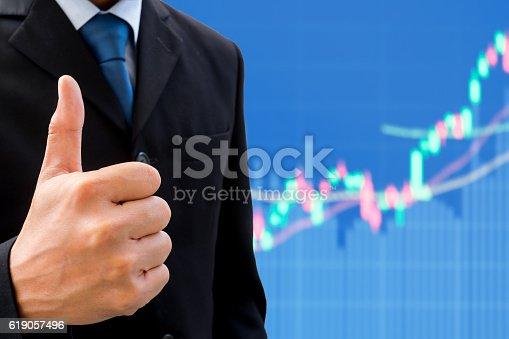 istock Businessman raising his thumb up 619057496