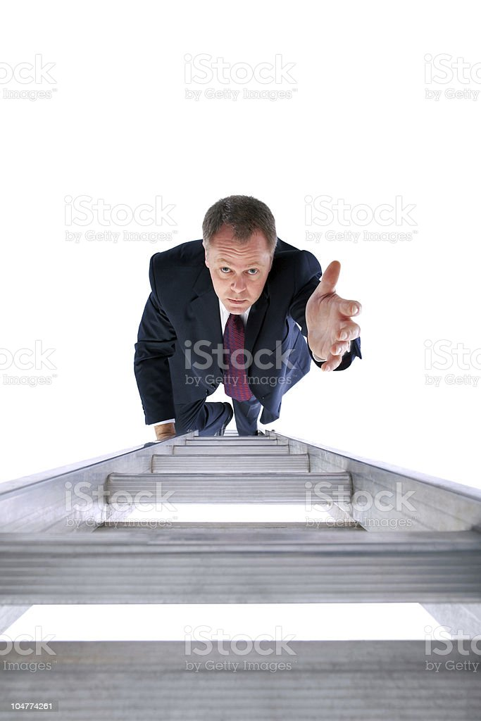 Businessman reaching for help royalty-free stock photo