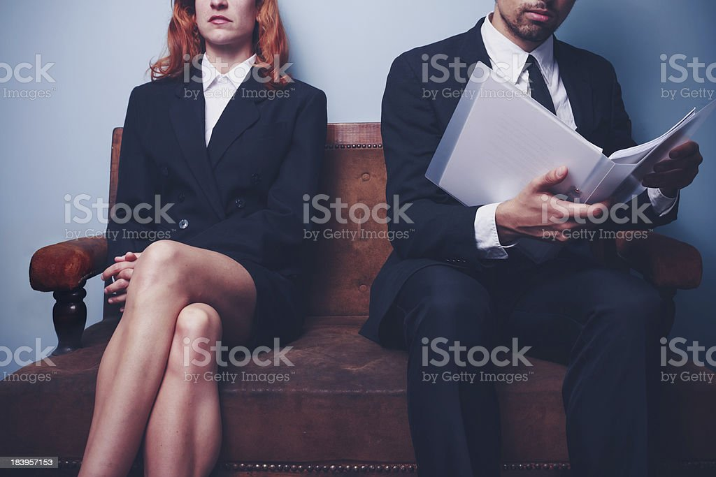 Businessman reading company report stock photo