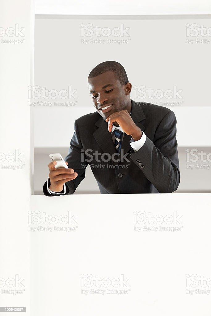 businessman reading emails stock photo