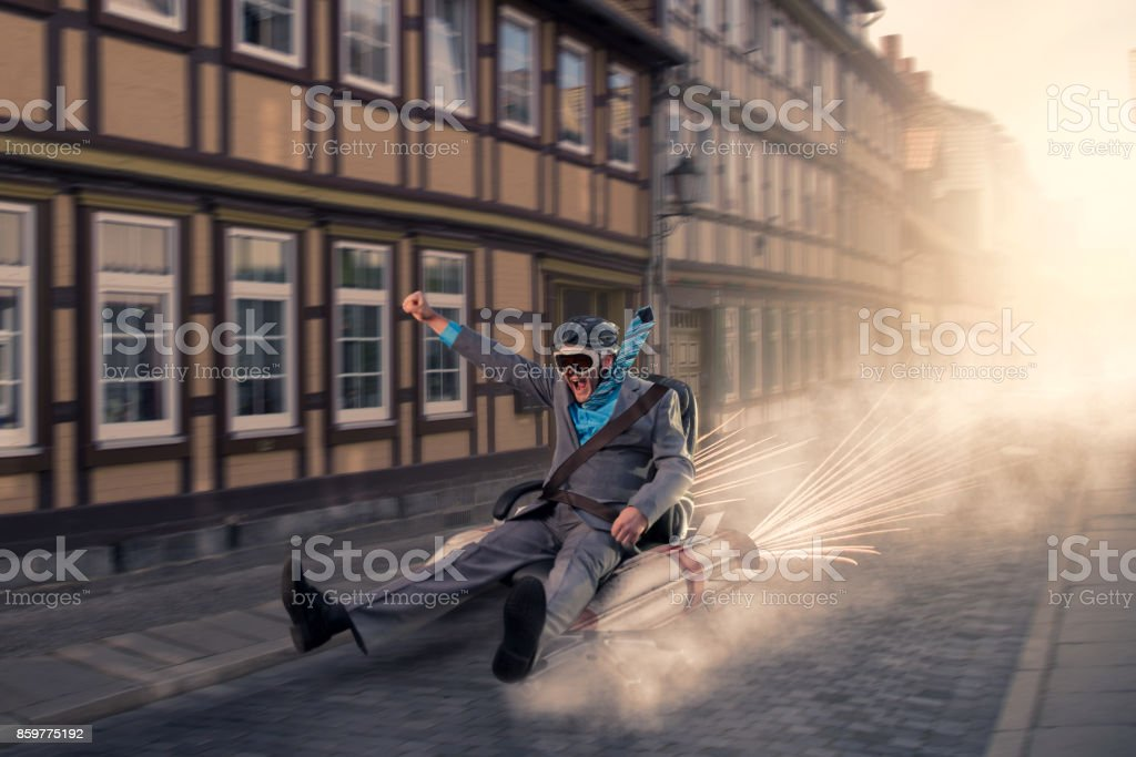 Businessman ready for take off stock photo