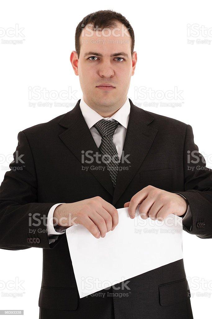 Uomo d'affari pronto a strappo carta foto stock royalty-free