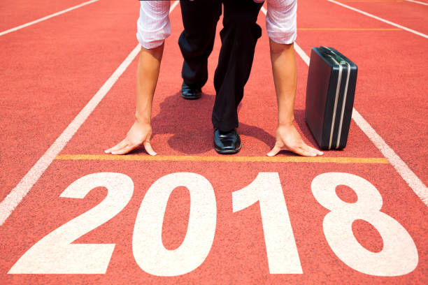 businessman ready to run and 2018 new year concept - contest stock photos and pictures