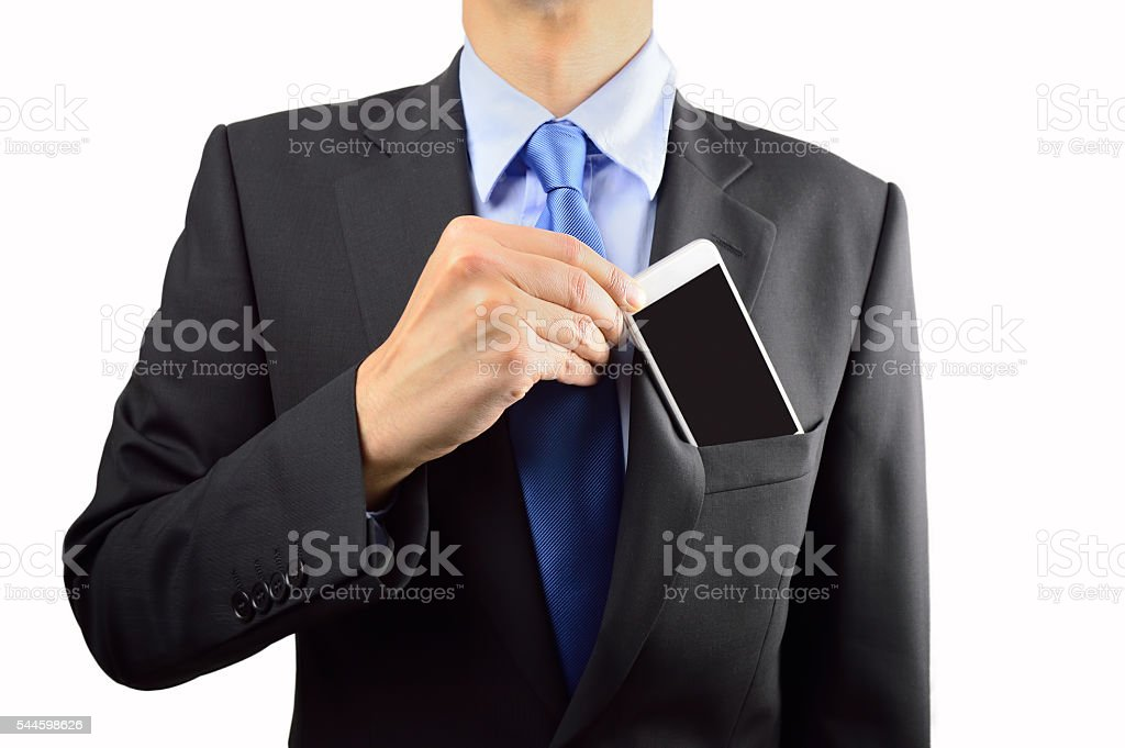 businessman ready with his smartphone stock photo