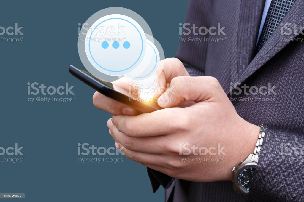 Businessman received a message. stock photo