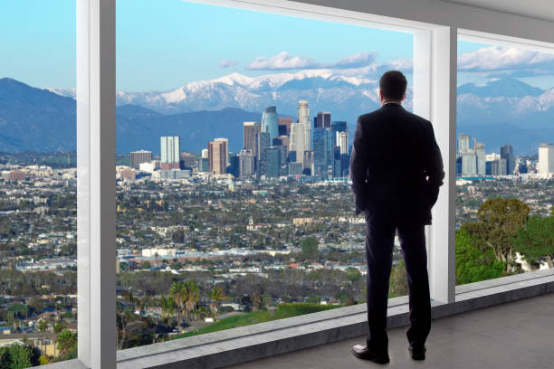 Businessman Regional Manager Looking at Los Angeles in Winter stock photo