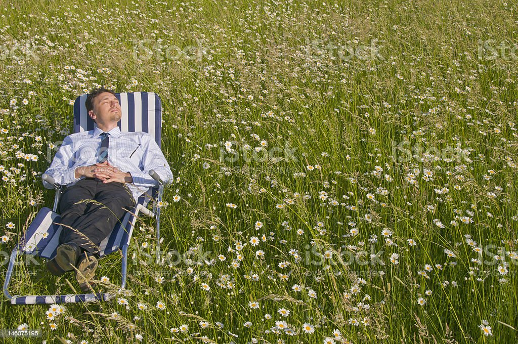 A businessman relaxing in a deck chair on a daisy lawn royalty-free stock photo
