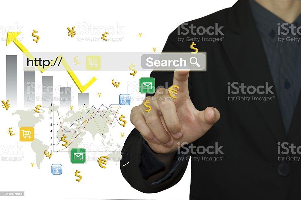 Businessman research data. stock photo