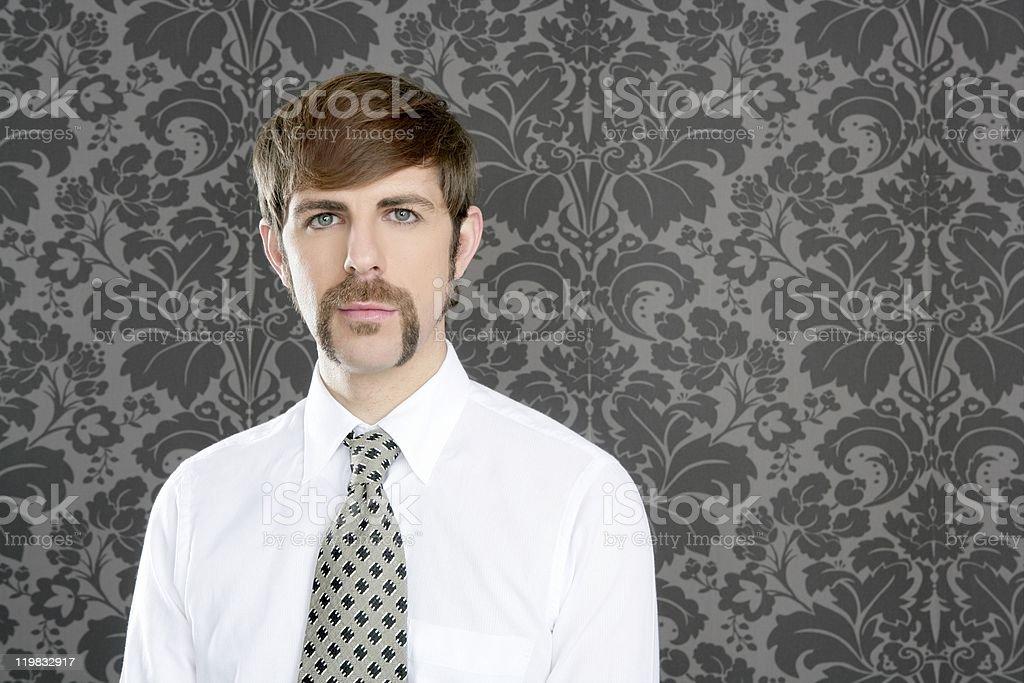 businessman retro mustache over gray wallpaper stock photo