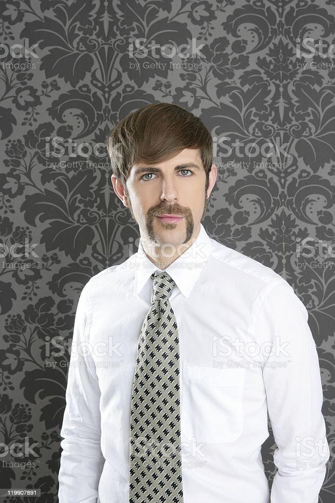 businessman retro mustache over gray wallpaper royalty-free stock photo