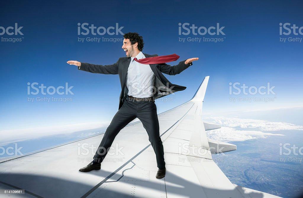 Homme d'affaires prendre un avion - Photo