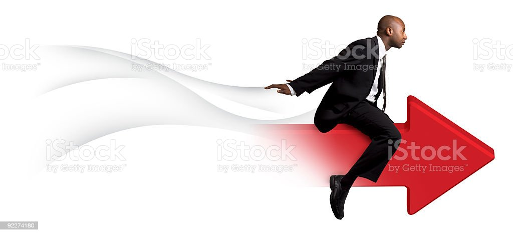 Businessman Riding Red Arrow stock photo