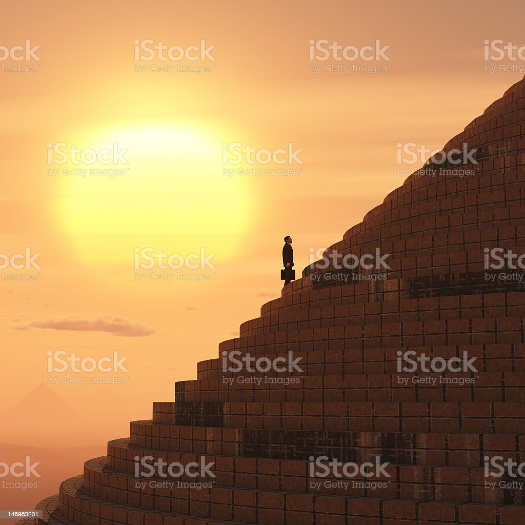 businessman rising on staircase stock photo