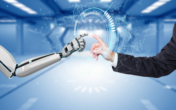 Businessman Robot Hands Connection HUD Network A robot hand and a human hand touch each other via the HUD display. 3d illustration. digitized stock pictures, royalty-free photos & images