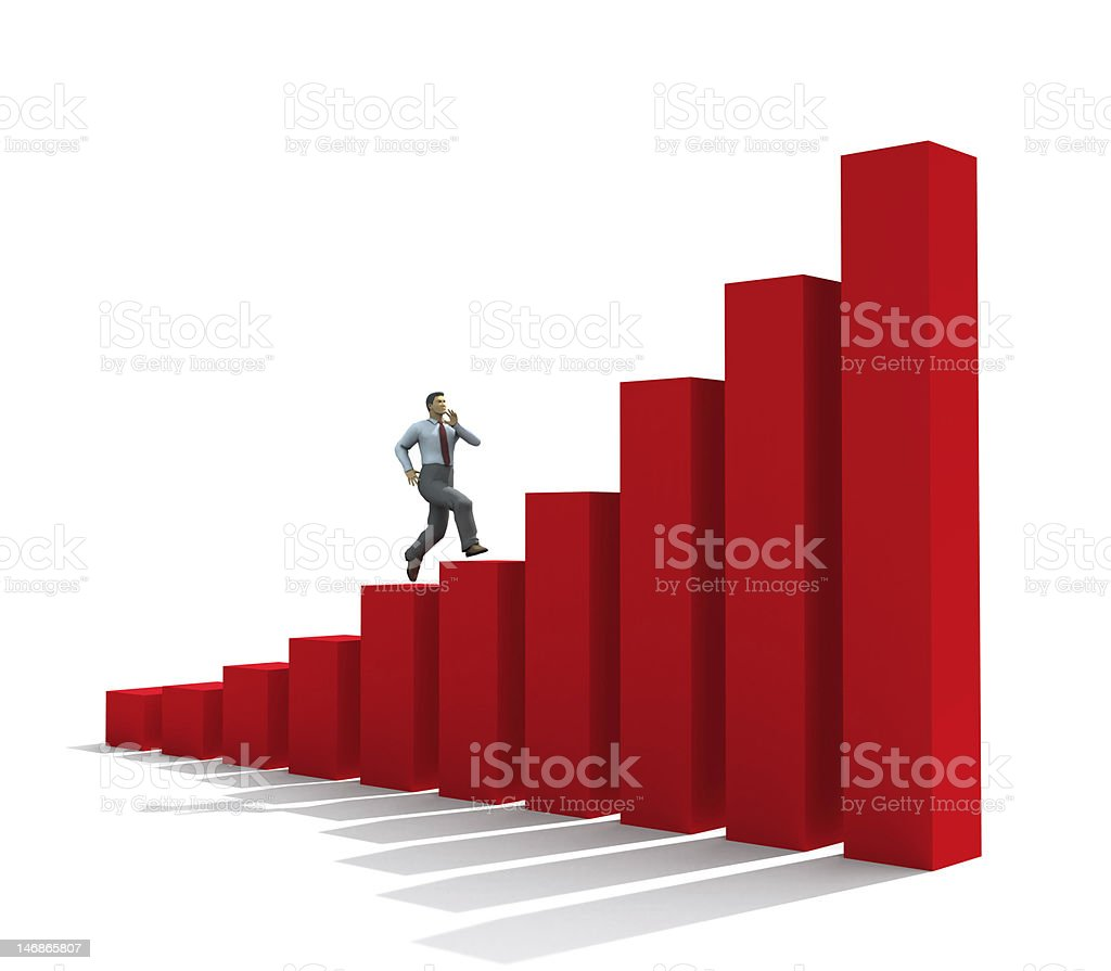 businessman run up on graph royalty-free stock photo