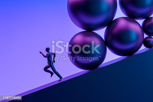 3d rendering of businessman running away from problems.
