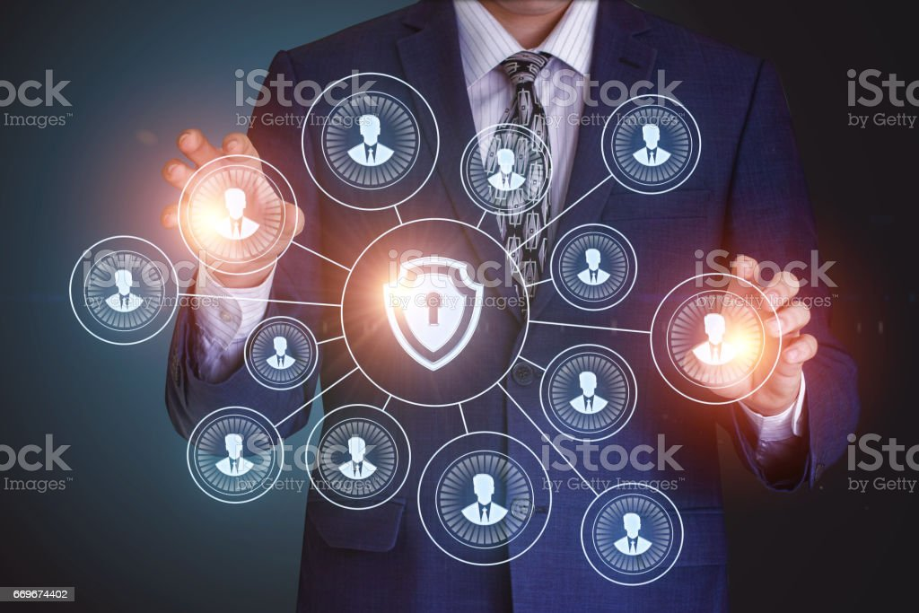 Businessman running in a secure network. stock photo