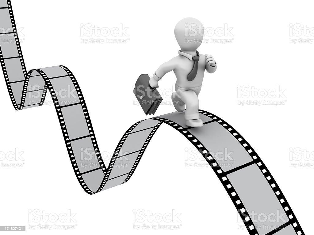 Businessman Running on Filmstrip royalty-free stock photo