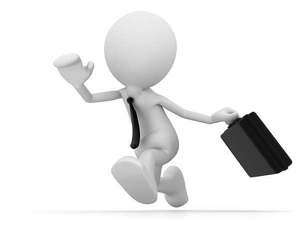 businessman running - stick figure stock photos and pictures