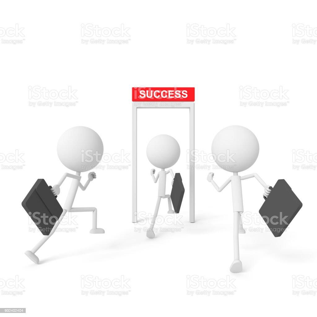 Hombre de negocios al éxito. Render 3D. - foto de stock