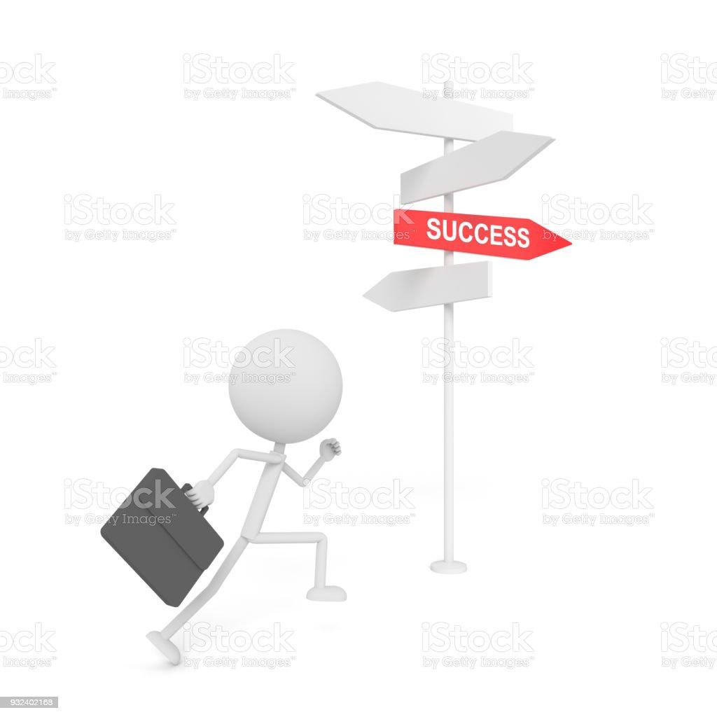 hombre de negocios que el poste de la guía de éxito. Render 3D. - foto de stock