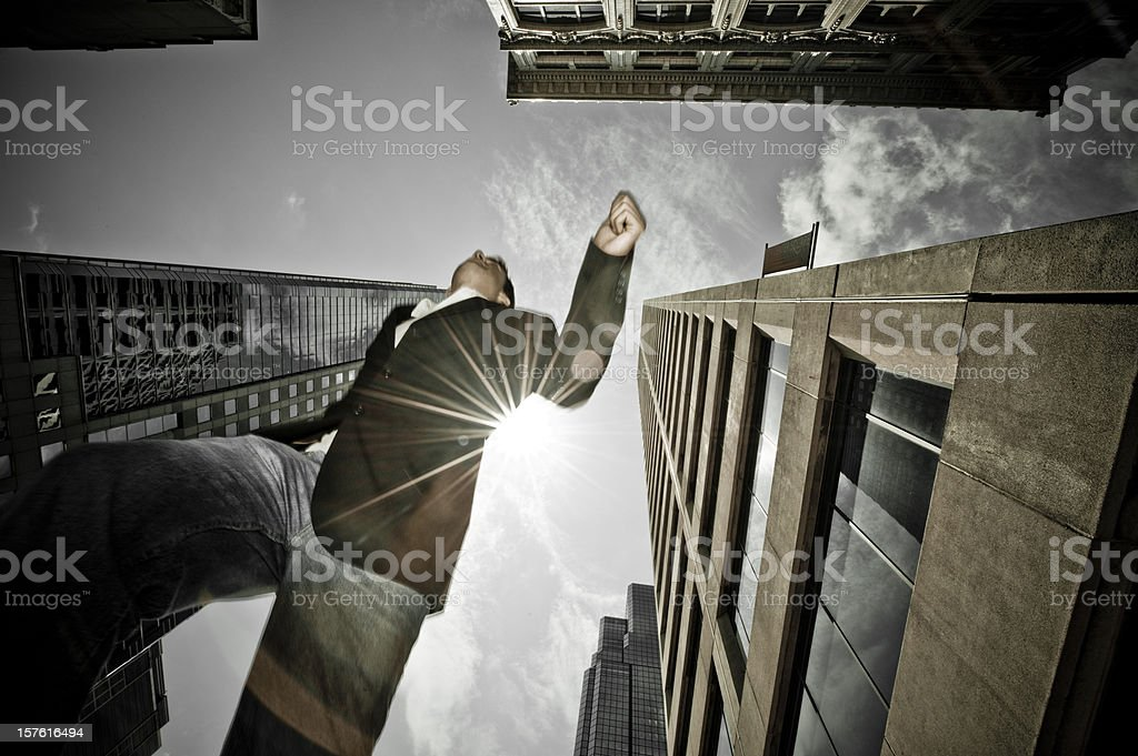 Businessman running to work. royalty-free stock photo