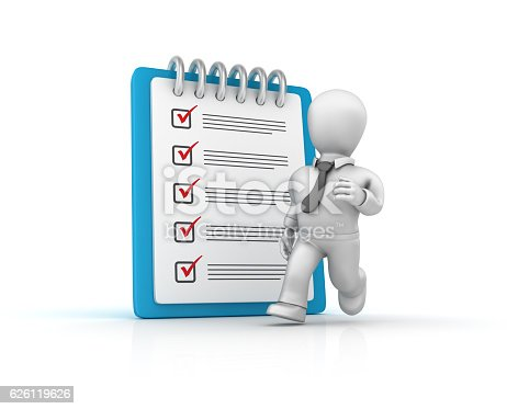 537516368 istock photo Businessman Running with Check List Clipboard - 3D Rendering 626119626