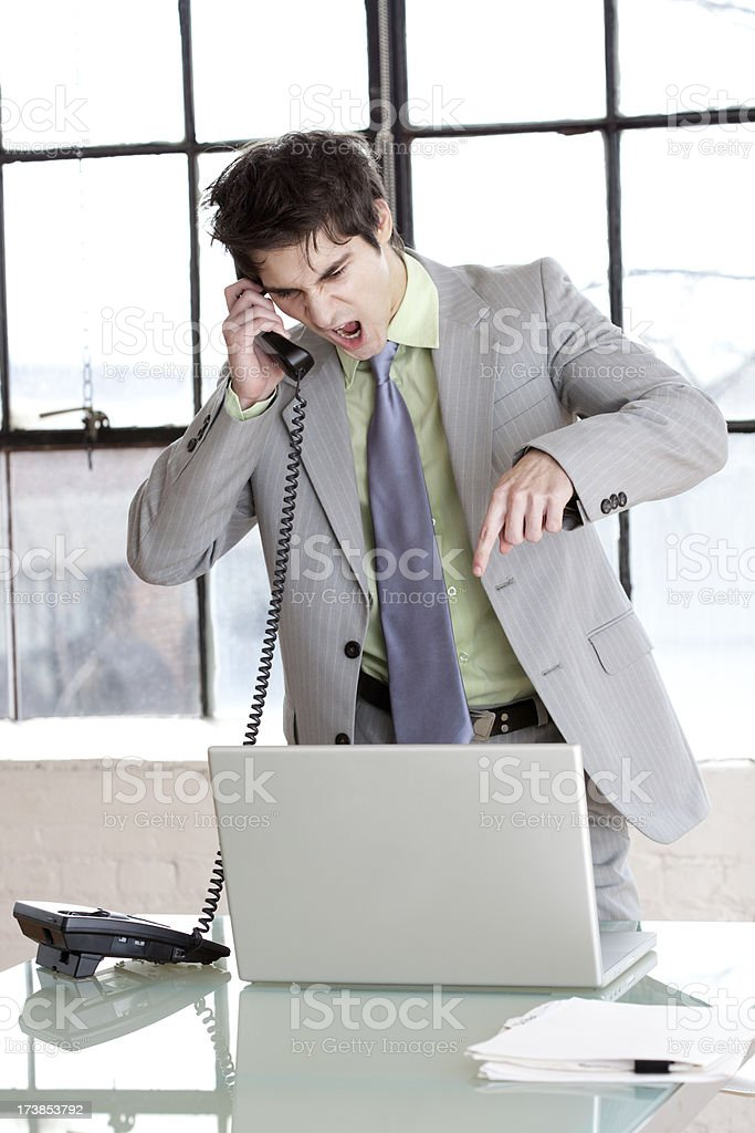 Businessman screaming on the phone. I want Results!! royalty-free stock photo