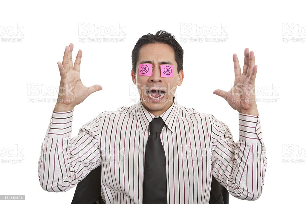 Businessman screaming with Sticky Note Eyes royalty-free stock photo