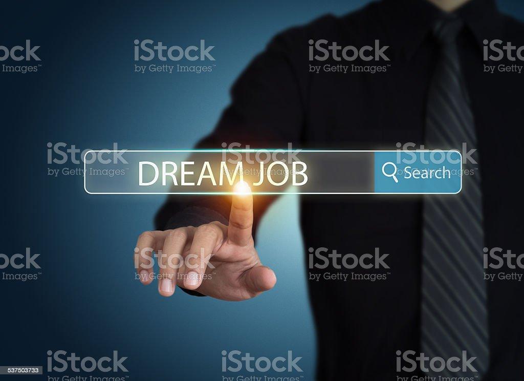 Businessman search for dream job stock photo