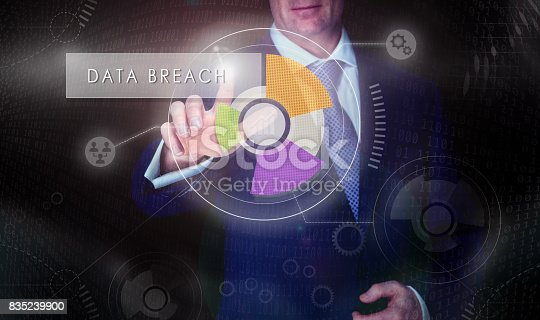 istock A businessman selecting a Data Breach button on a computerised display screen. 835239900
