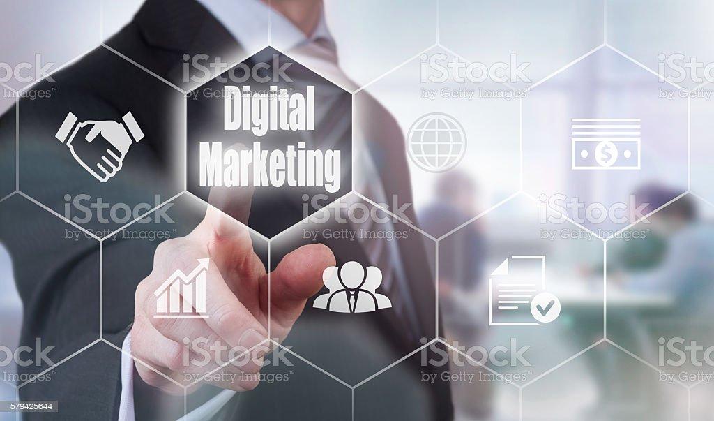 Businessman selecting a Digital Marketing Concept button stock photo