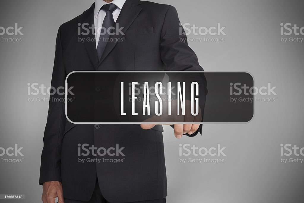 Businessman selecting label with leasing written on it royalty-free stock photo