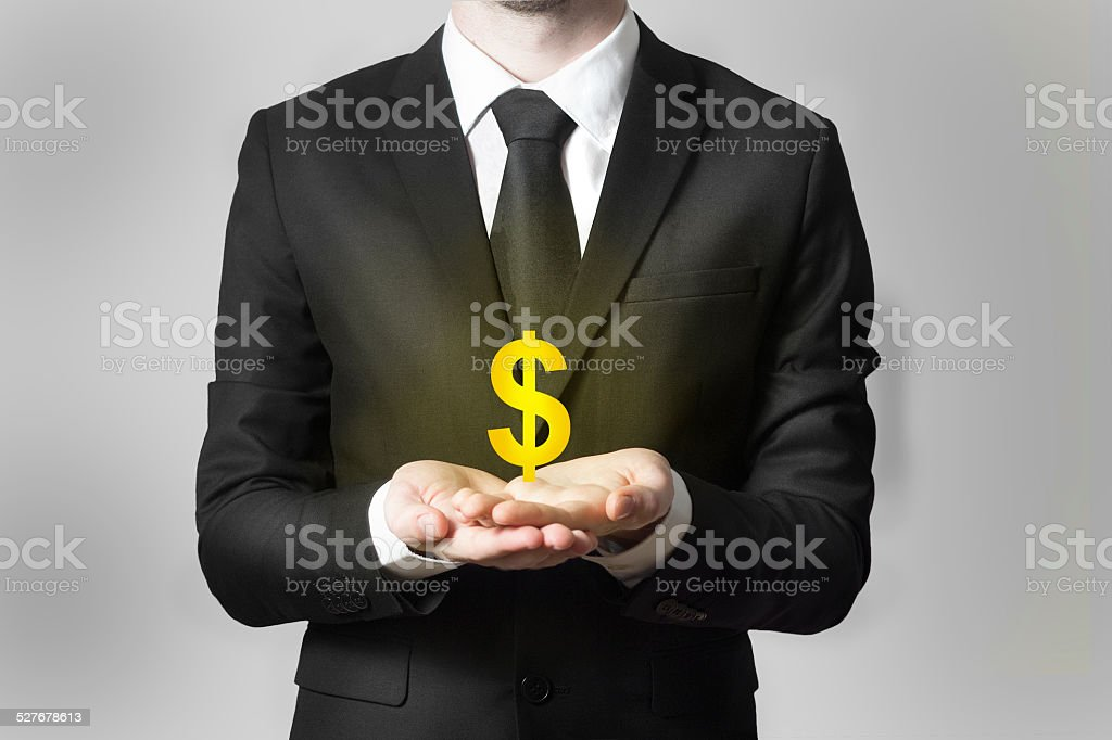 businessman serving gesture dollar symbol stock photo