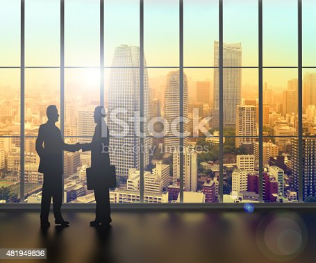 istock businessman shaking hands inside a business tower 481949836