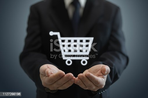 Businessman shopping cart internet e-commerce network security protection