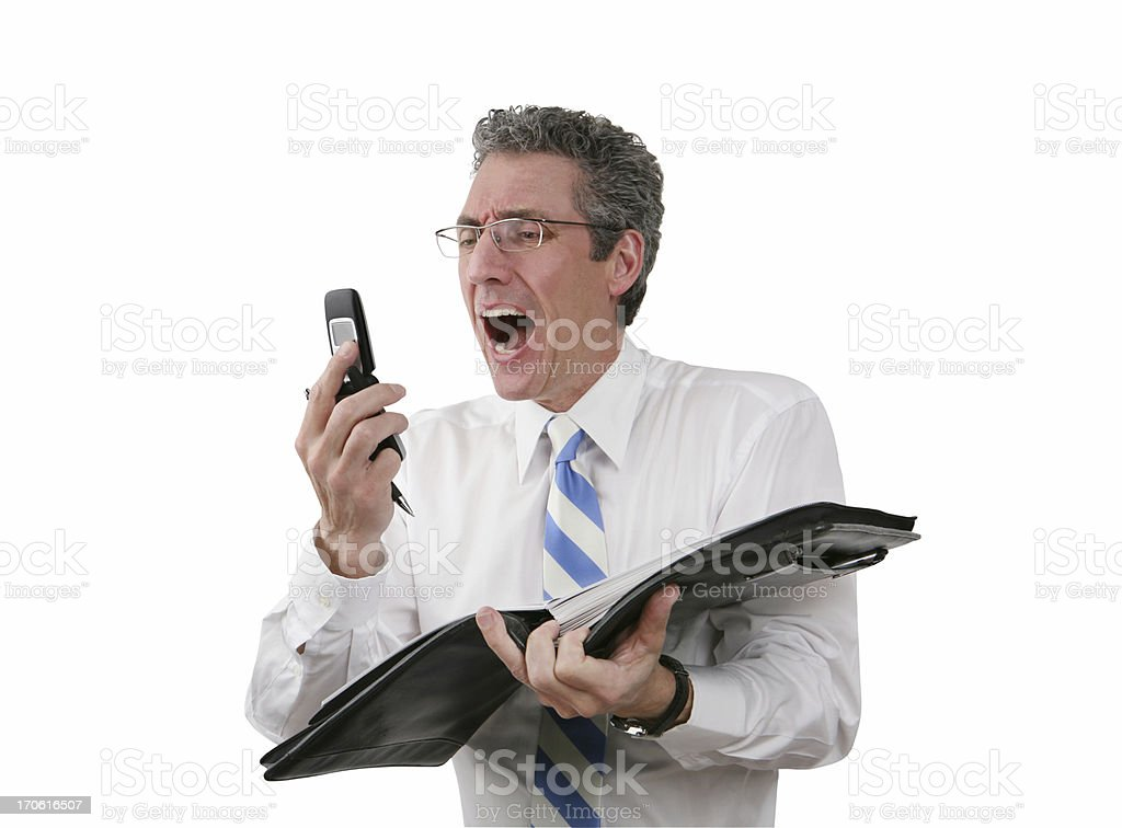 Businessman Shouting At Phone royalty-free stock photo