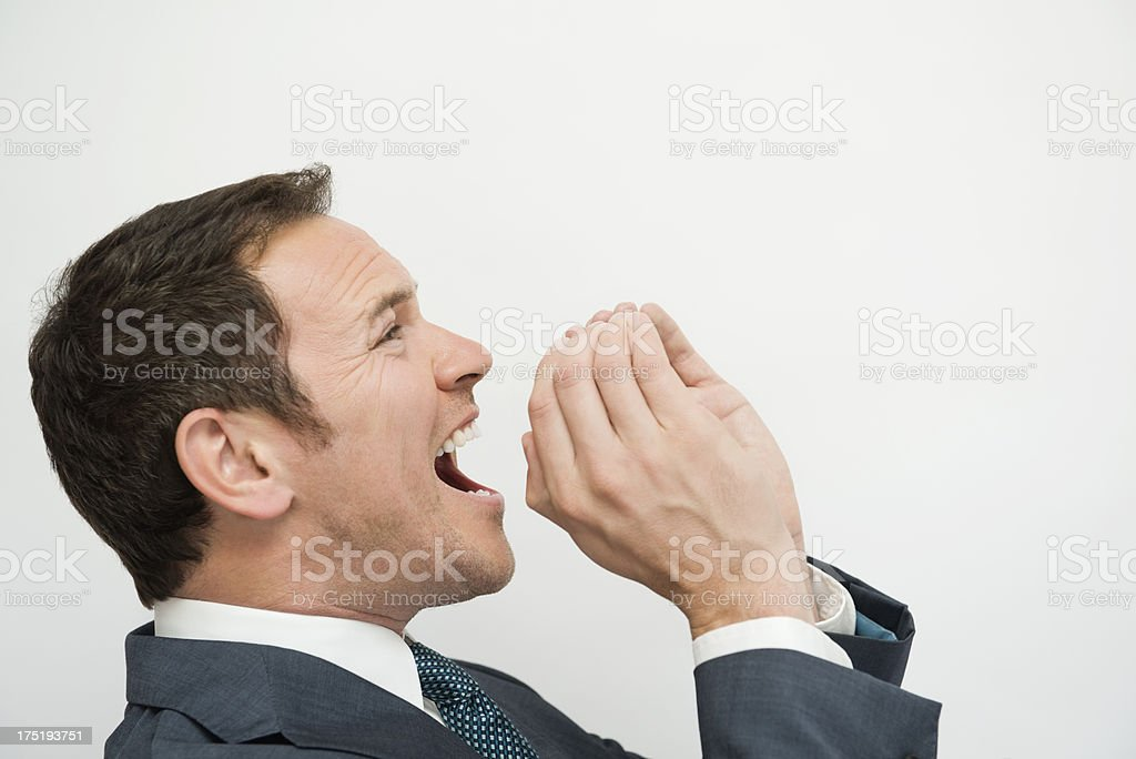 Businessman Shouting - Isolated royalty-free stock photo