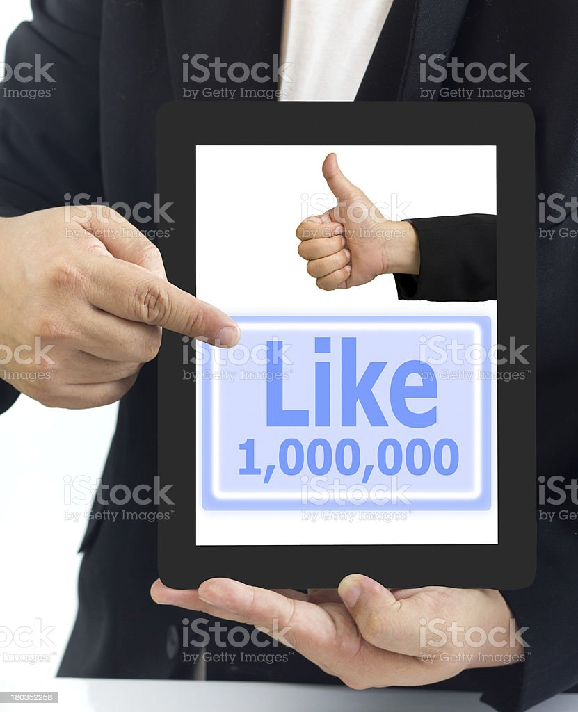 Businessman show a tablet pc stock photo