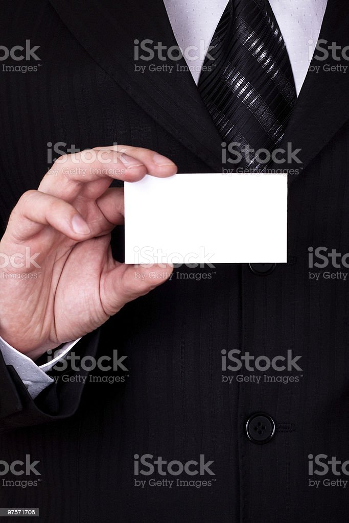 businessman show blank card royalty-free stock photo
