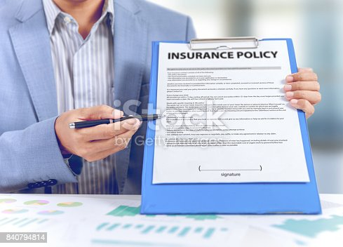 istock businessman show insurance policy with business graph diagram, insurance concept 840794814