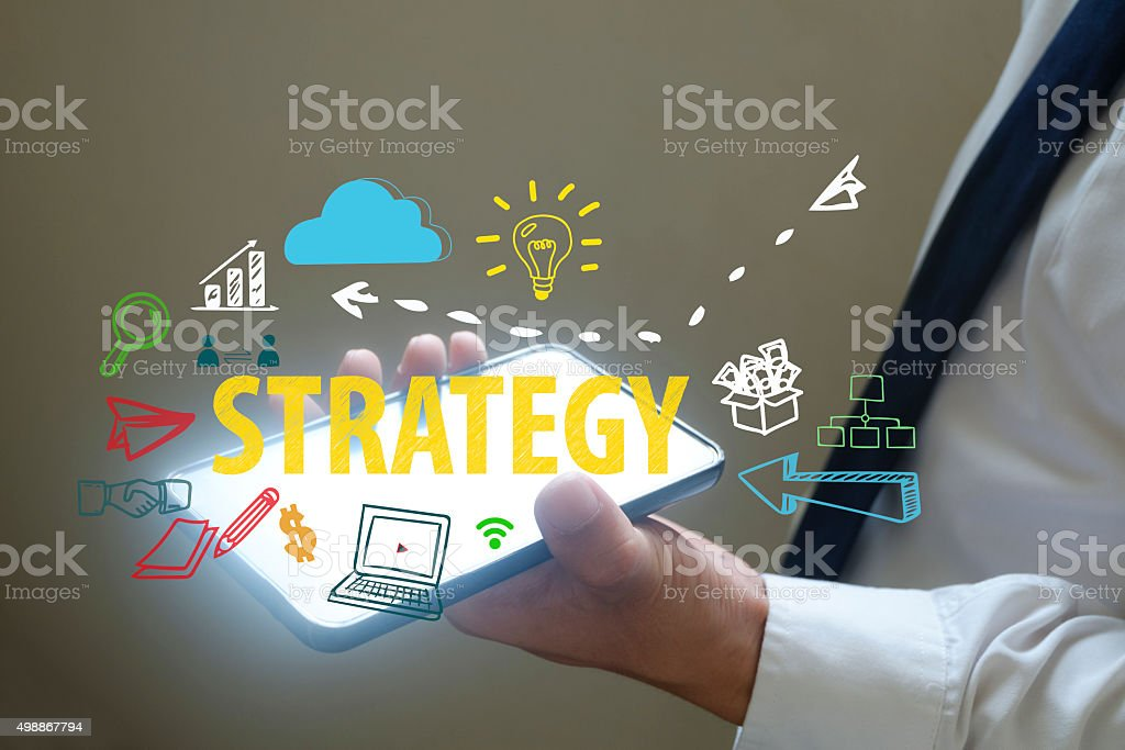 businessman show Strategy concept over smart phone stock photo