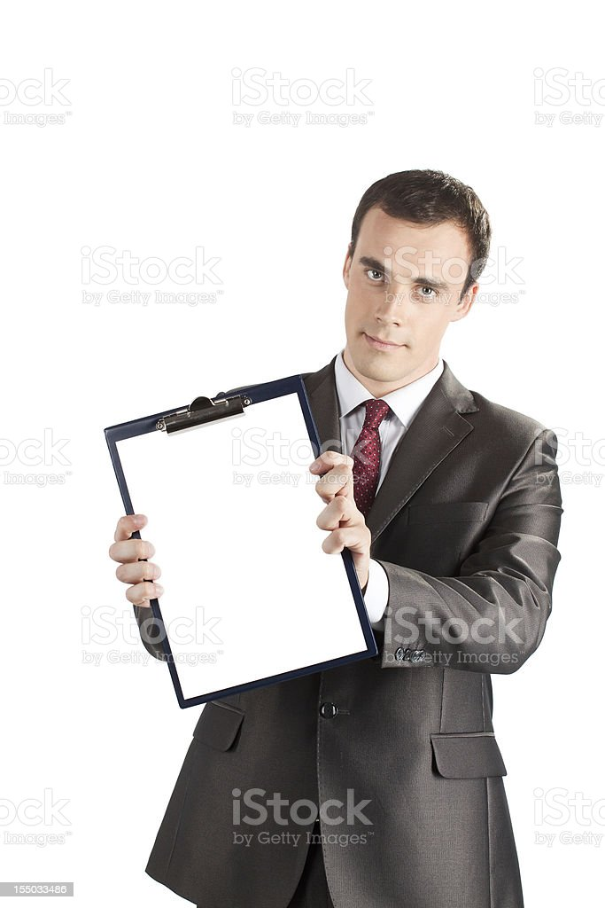 businessman showing a blank clipboard royalty-free stock photo