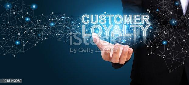 Businessman showing Customer Loyalty. Customer Loyalty concept.