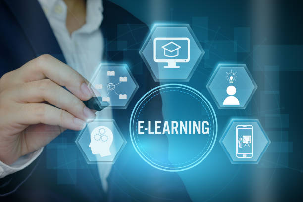 Businessman showing E-learning concept with line icon,Creative design for banner. - foto stock